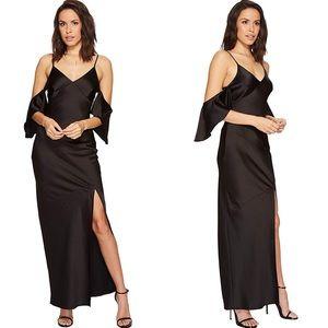 ASTR Cold Shoulder Black Maxi Dress